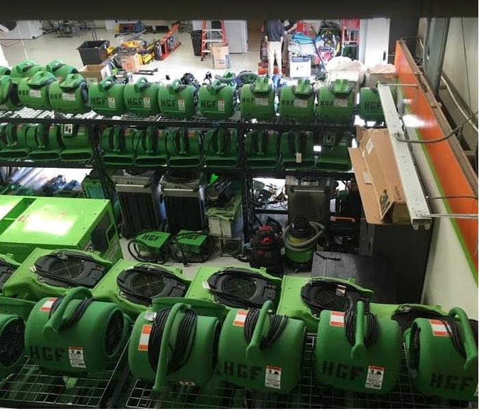 SERVPRO restoration equipment stacked in storage facility